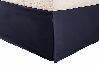 1500 Series 100% Microfiber Pleated Queen Bed Skirt Solid Navy Blue - 15 ... New