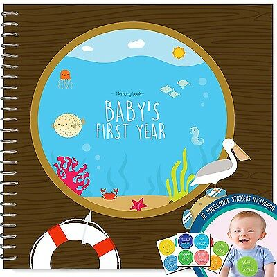 MEMORY BOOK + STICKERS - Unconditional Rosie Baby Boys First Year Record ... New