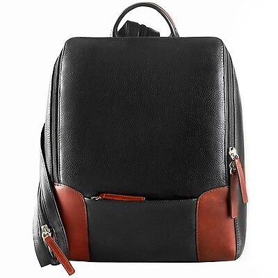 Derek Alexander Backpack Sling with Large Front Open Black/Brandy One Size New