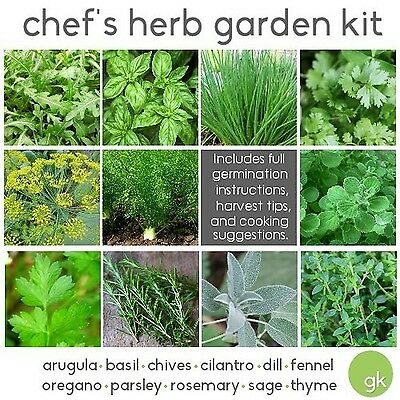 Chef's HERB GARDEN SEED KIT - 10 Seed Types *Save 25%* Arugula Basil Chiv... New