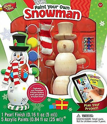 Masterpieces Works of Ahhh Winter Snowman (Green) Large Wood Paint Kit New