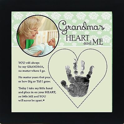 The Grandparent Gift Grandma Handprint Frame: Grandma's Heart and Me Gree... New