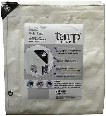 Kotap 25-Ft X 40-Ft Heavy-Duty 12 by 12 Cross Weave 8-Mil White Poly Tarp... New