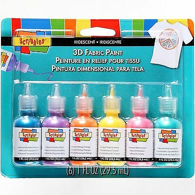 Scribbles 18536 Dimensional Fabric Paint Iridescent 6-Pack New