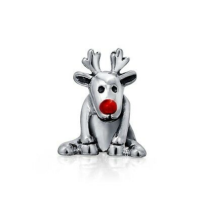 Bling Jewelry 925 Sterling Rudolph Red Nose Reindeer Christmas Bead Fits ... New