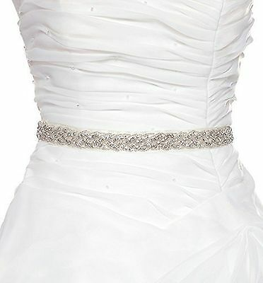 QueenDream Rhinestone Satin Bridal Sash Belt for Wedding DressOff White New