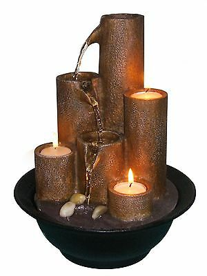 Alpine Tiered Column Tabletop Fountain with Three Candles New