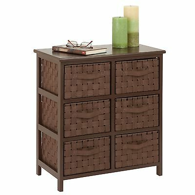 Honey-Can-Do TBL-03758 6-Drawer Storage Chest with Woven-Strap Fabric Bro... New