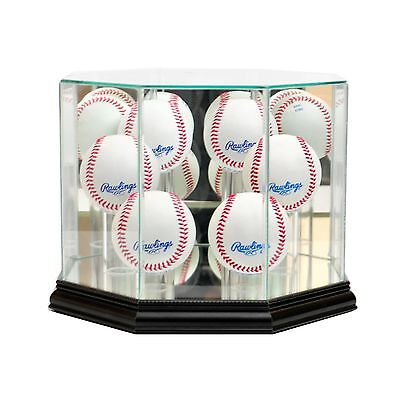 Perfect Cases Octagon 6 Baseball Glass Display Case Black New
