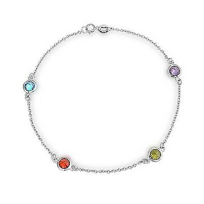 Bling Jewelry Multi Color CZ by the Inch Sterling Silver Anklet New