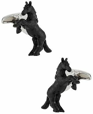 Cuff-Daddy Bucking Bronco Cufflinks Hand Painted New