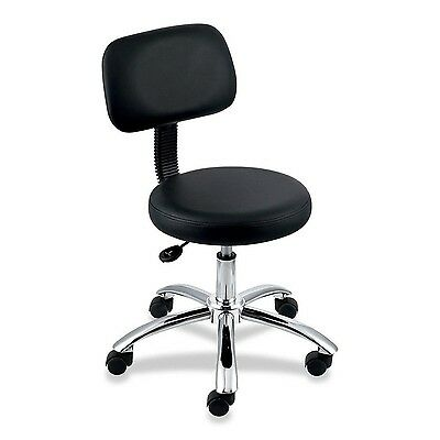 Lorell Round Stool with Back -250 lb Load Capacity -Black Black New