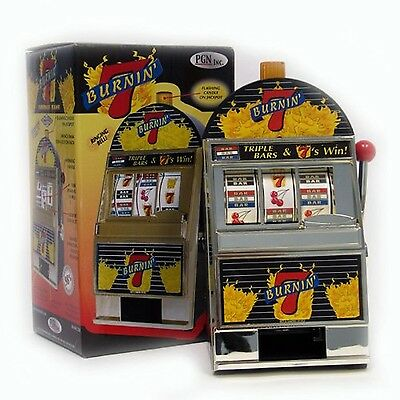 Trademark Poker Burning 7's Slot Machine Bank with Spinning Reels New