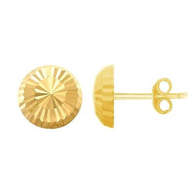 Children's 14k Gold Baby Half Ball Faceted Stud Earrings 4 Mm Shiny New