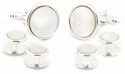 Cuff-Daddy Sterling Silver Plated Formal Set Cuff Links Pearl New