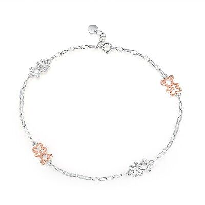 """14K Rose and White Gold Diamond Cut Bears Anklet (9.25"""") New"""