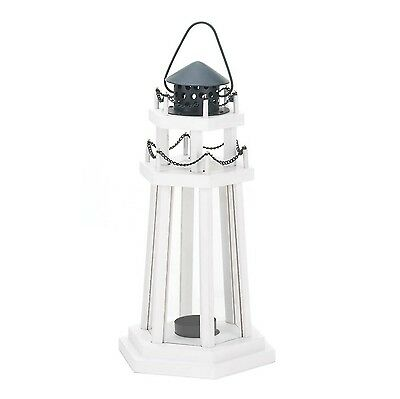 Nautical Light Decorative Clear Glass Wooden Lighthouse Candle Lantern La... New
