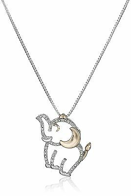 Sterling Silver 14k Rose Gold and Diamond Elephant Pendant Necklace New