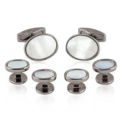 Oval Gunmetal Mother of Pearl Cufflinks and Stud Set Tuxedo New