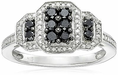 Sterling Silver Black and White Diamond Ring (1/2 cttw I-J Color I3 Clari... New
