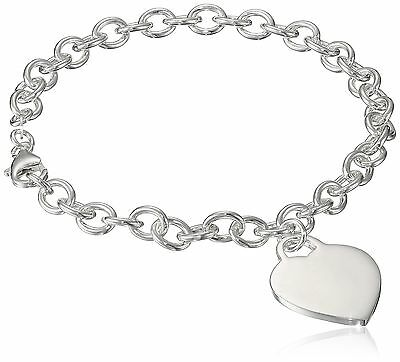 """Sterling Silver Charm Bracelet with Large Heart Charm 9"""" New"""