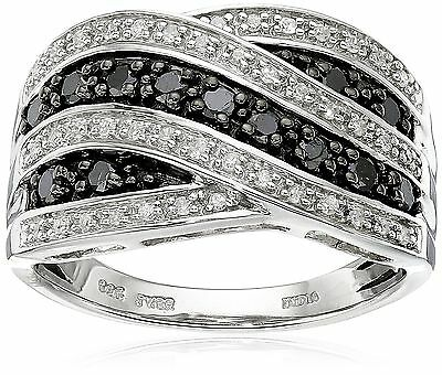 Sterling Silver Black and White Diamond Ring (1/2 cttw I-J Color I2-I3 Cl... New