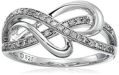 Sterling Silver 1/4cttw Diamond Heart Ring 8 New