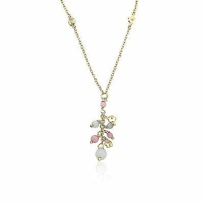 """Little Miss Twin Stars """"Cat-Eyed Bead"""" 14k Gold-Plated Necklace with Dang... New"""