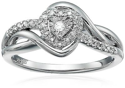 Sterling Silver Diamond Heart Ring (1/10cttw I-J Color I3 Clarity) Size 7 New