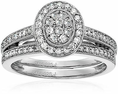 Sterling Silver Diamond Bridal Ring (1/2cttw I-J Color I2-I3 Clarity) Siz... New