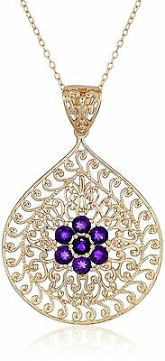 18k Yellow Gold-Plated Sterling Silver Gemstone Flower Pendant Necklace New