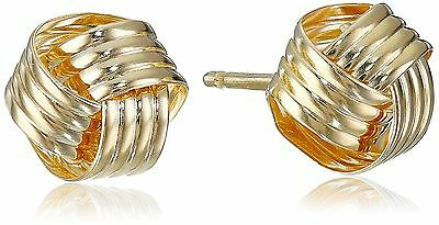 14k Yellow Gold Love Knot Stud Earrings New