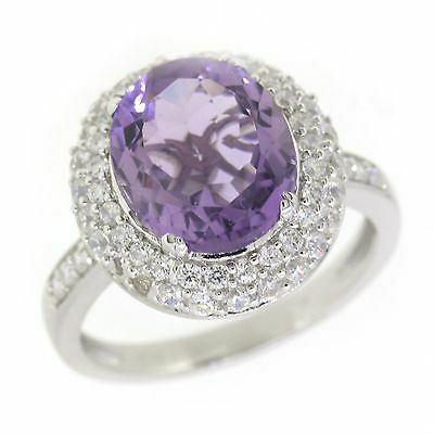 Gorgeous Sterling Silver Amethyst Cocktail Halo Ring ( 4 2/5 CT.T.W) 7 New