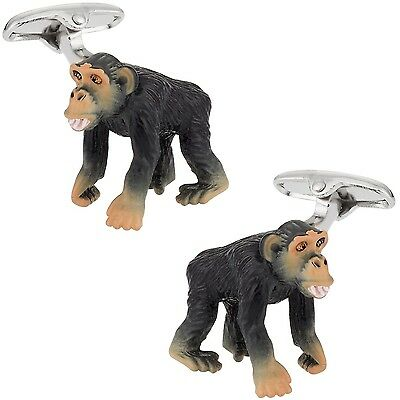 Cuff-Daddy Monkey Cufflinks Hand Painted New