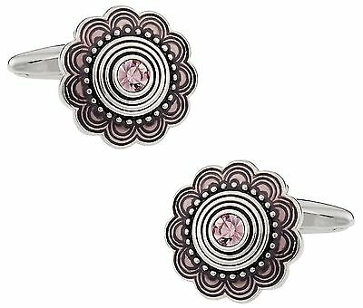 Cuff-Daddy Art Deco Style Silver Cufflinks with Pink Crystal New