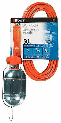Woods 692 16/3-Gauge SJTW Trouble Light with Metal Guard and Outlet Orang... New