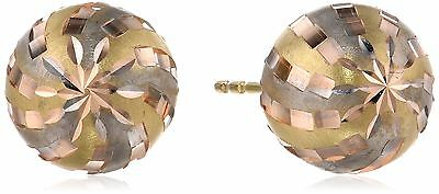 14k Tri-Color Gold D-Cut Ball Stud Earrings New