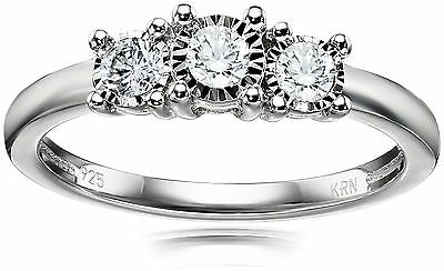 Sterling Silver 3-Stone Diamond Engagement Ring (1/4 cttw I-J Color I2-I3... New