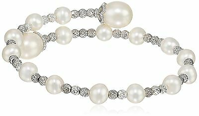 Bella Pearl Sterling Silver Wrap-Bangle Bracelet New