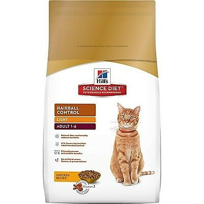 Hill's Science Diet Adult Cat Hairball Control Formula Light Dry Food 3.1... New