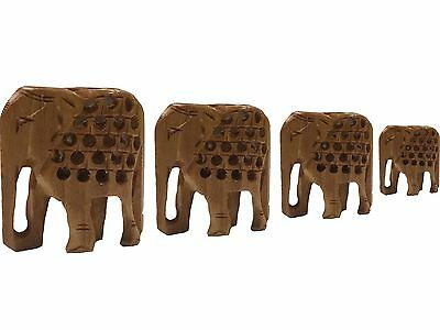 Beautifully Hand Carved Wooden Elephants - Set of 4. Ornament heights 7/6... New