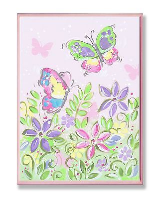 The Kids Room by Stupell Pastel Butterflies and Flowers Rectangle Wall Pl... New