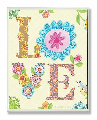 The Kids Room by Stupell Floral LOVE Rectangle Wall Plaque New