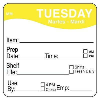 """DayMark IT1122122 MoveMark Day of The Week Removable Label Tuesday 2"""" x 2... New"""