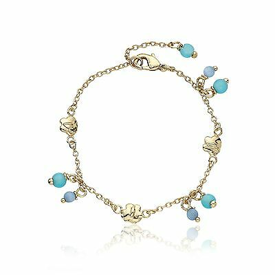 "Little Miss Twin Stars ""Cat-Eyed Bead"" 14k Gold-Plated Bracelet 5.5 inches New"