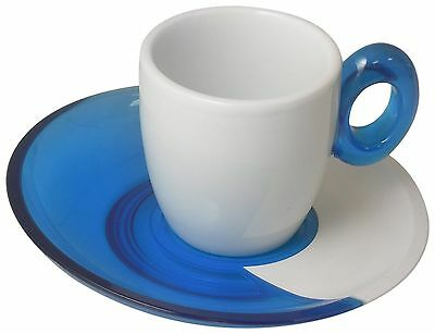 Omada M4220TC Spot Turquoise Espresso Cups with Saucers Set of 2 New