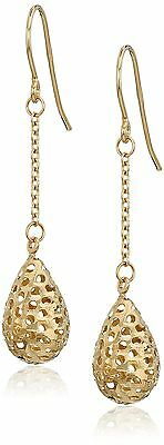 14k Yellow Gold Teardrop Filigree Dangle Earrings New