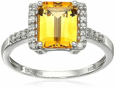 Sterling Silver Citrine and Diamond Octagon Ring (1/8 cttw I-J Color I2-I... New