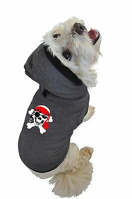 Ruff Ruff and Meow Small Dog Hoodie Skull and Crossbones Black New