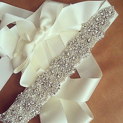 TRLYC White Ribbon Sash Crystal Beaded Wedding Dress Sash Rhinestone Part... New
